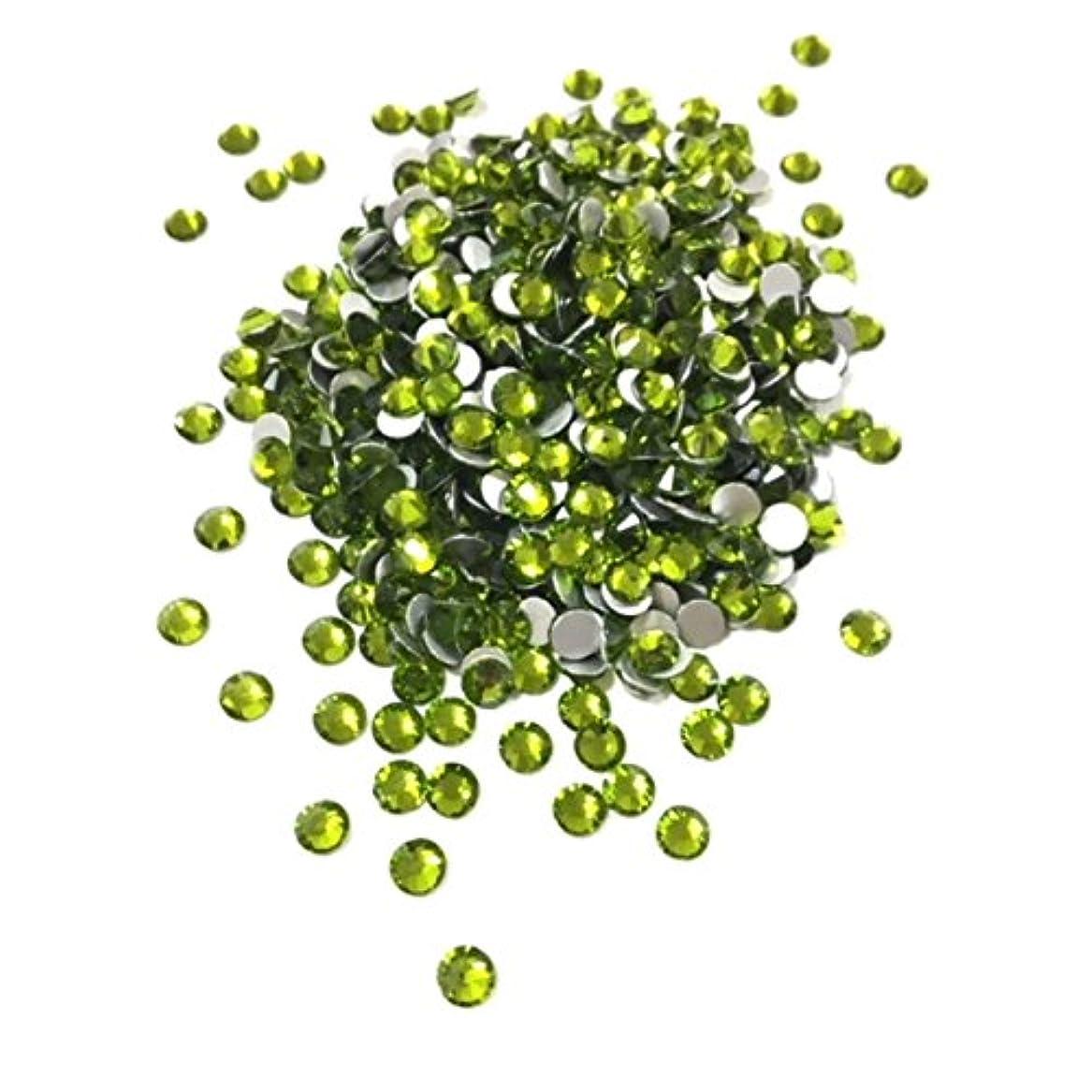 【ネイルウーマン】最高品質ガラスストーン!スワロ同等の輝き! オリーブ 緑 グリーン (約100粒入り) (SS12, オリーブ)