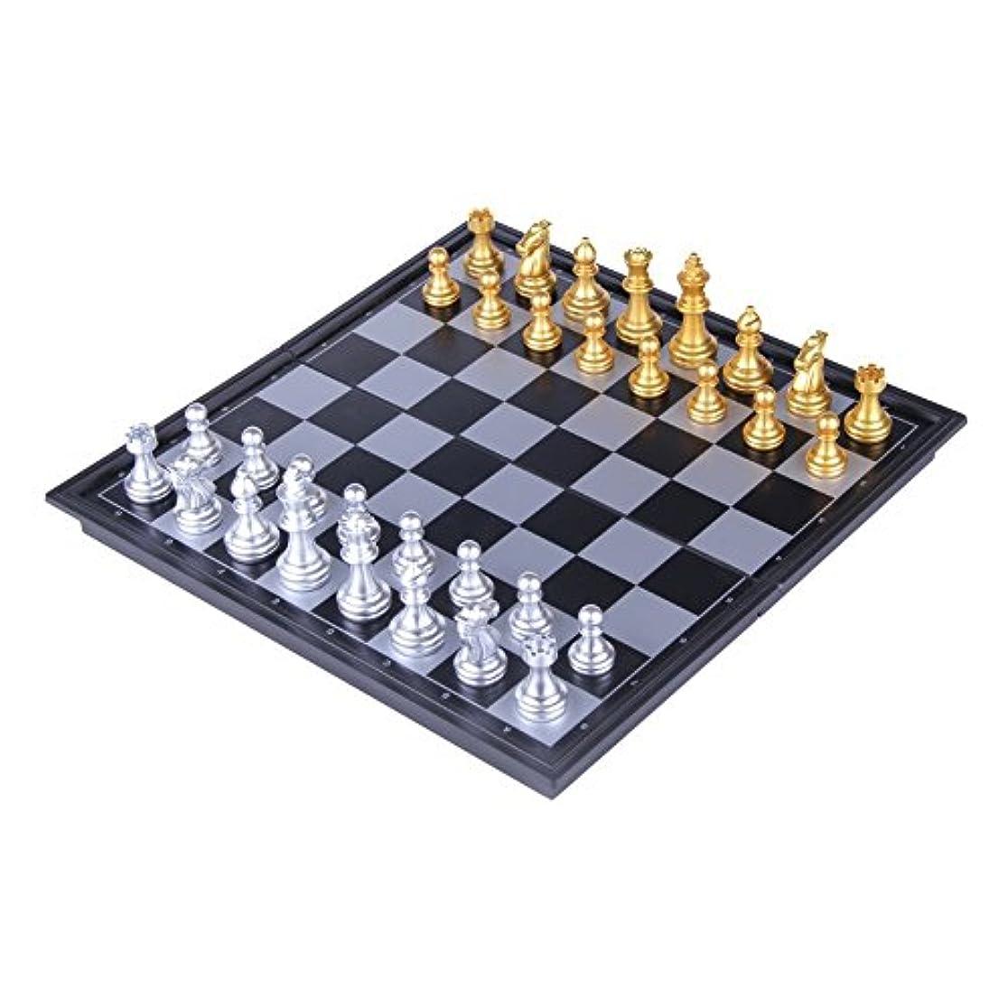 実業家スリップシューズ普通に若い、軽量、金色、銀色、大の子供用折りたたみ式ボード付きトラベル磁気チェス