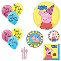 Peppa Pig Party Supplies and Balloons Bouquet for 8 Guests [並行輸入品]
