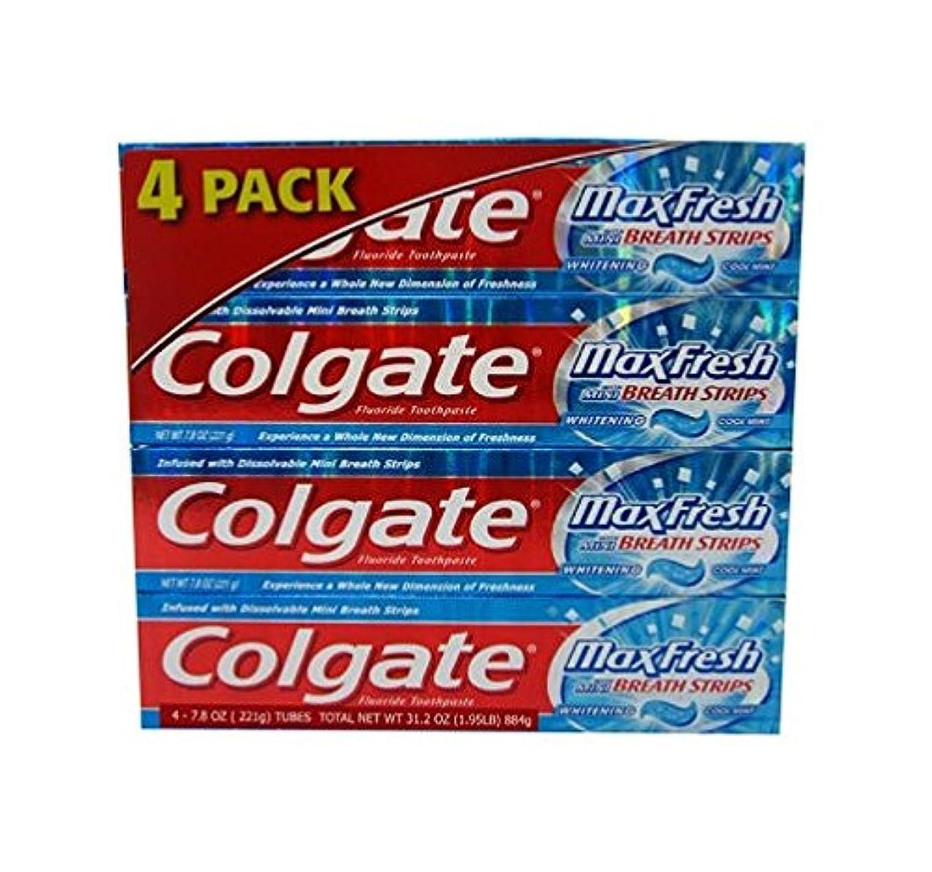 一貫した水蛾Colgate コルゲートMaxFresh 歯磨き粉Cool Mint 221g x 4個パック