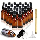 RUCKAE,1 oz (30ml) Amber Glass Spray Bottles-20 Piece Set - With Stainless Steel Funnel and Gold Glass Pen,Black Fine Mist Sprayers