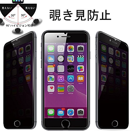 iPhone8 覗き見防止ガラスフィルム iPhone7 防犯フィルム左右180° 3dタッチ対応 ...