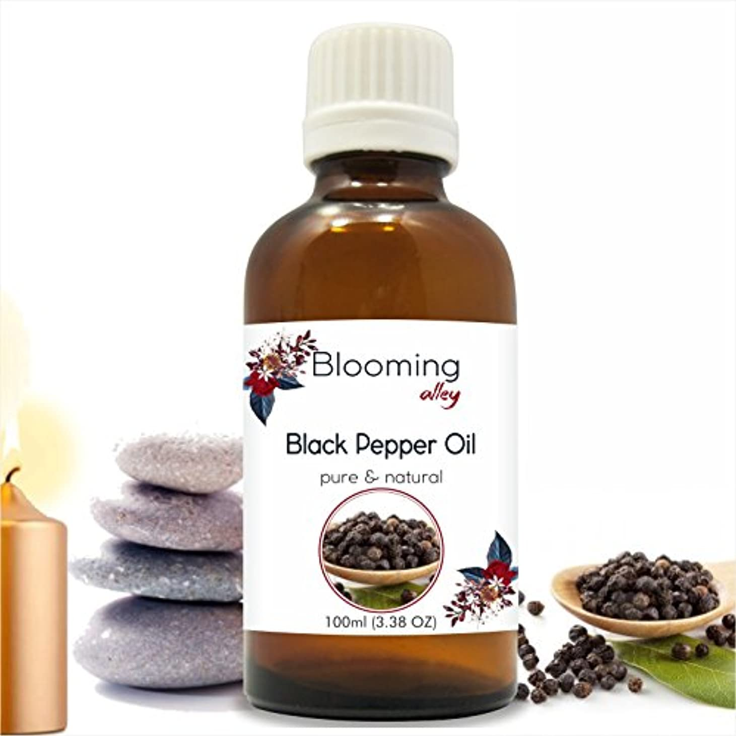 確保する車印をつけるBlack Pepper Oil (Piper Nigrum) Essential Oil 100 ml or 3.38 Fl Oz by Blooming Alley