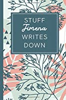 Stuff Jimena Writes Down: Personalized Journal / Notebook (6 x 9 inch) STUNNING Tropical Teal and Blush Pink Pattern