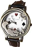 【リトルマジック】(W ブラック) アンティーク チェシャ 猫 腕時計 レディース 本革 子供 大人 兼用 アリス ネコ 時計 (ホワイト文字盤 ブラック) LM1229