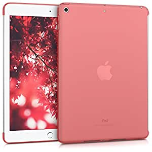 kwmobile クリスタル ケース(スマートカバー対応)Apple iPad 9.7 (2017 / 2018) 用 - TPU シリコン カバー 保護ケース赤色 透明