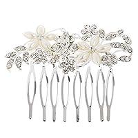 【ノーブランド品】ラインストーン 花嫁 結婚式 フェイクパールの花 ヘアコーム ヘアアクセサリー