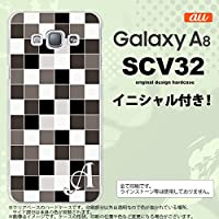 SCV32 スマホケース Galaxy A8 ケース ギャラクシー A8 イニシャル スクエア グレー nk-scv32-1016ini L