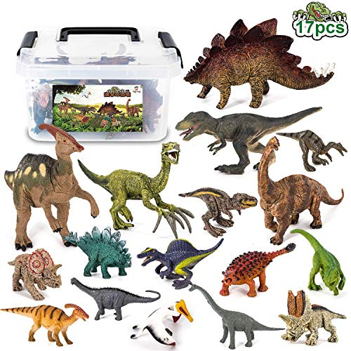 Tagitary 恐竜フィギュア 知育おもちゃ 17点セット 誕生日プレゼント 収納ボックス付き リアルな恐竜おもちゃ 子供おもちゃ 定番おもちゃ 恐竜遊び 子供の誕生日ギフト 祝いプレゼント 保育園教具