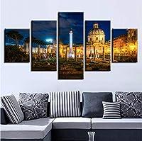 Jason Ming キャンバスのHdプリント絵画家の装飾の写真5枚フォーラム建物夜風景ポスターモジュラーリビングルーム額装