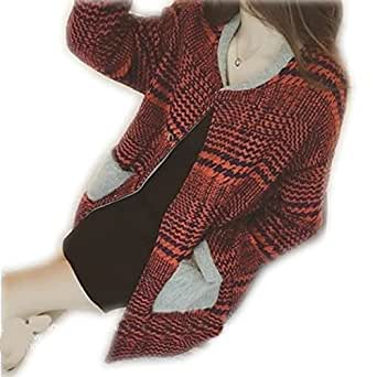 チェック柄 ノーカラーコート ツイード ショート丈 アウター ジャケッ RED,5Lレディース コート ジャケット 秋 冬 黒 大きいサイズ ゆったり
