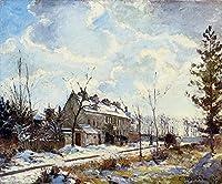 手描き-キャンバスの油絵 - louveciennes road 雪景色 effect 1872 カミーユ・ピサロ 芸術 作品 洋画 ウォールアートデコレーション -サイズ15