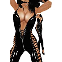 Fashion Queen Ladies Sleeveless Catsuit Womens Latex Look Costume Leather Erotic Lingerie Bodysuit