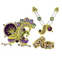 ホーリーマートパープルムクート、マラとバングル(3サイズ)ゴッドジュエリーセット| Jewelry-stores.co.ukパープルクラウン、ネックレス、バングルセット