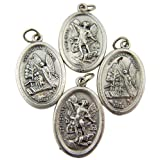 Lot of 4 Saint St Michael with Guardian Angel 1-inch Silver Tone Two Sided Medal by Lumen Mundi [並行輸入品]