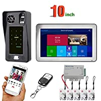 10インチホームワイヤレスビデオドアベル、Wifiビデオドアベルトランシーバー、指紋ICカードリモートAPPロック解除アクセス制御システム,1monitor