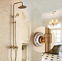 GOWEホワイトandブルー磁器雨シャワー蛇口シングルハンドル浴槽ミキサー壁マウント