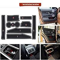 カップホルダーライナー用カスタムフィット Land Rover Evoque 12-15ドアスロットパッドセンターコンソールマットインテリアアクセサリー防塵アンチスリップレッド (8個) 白