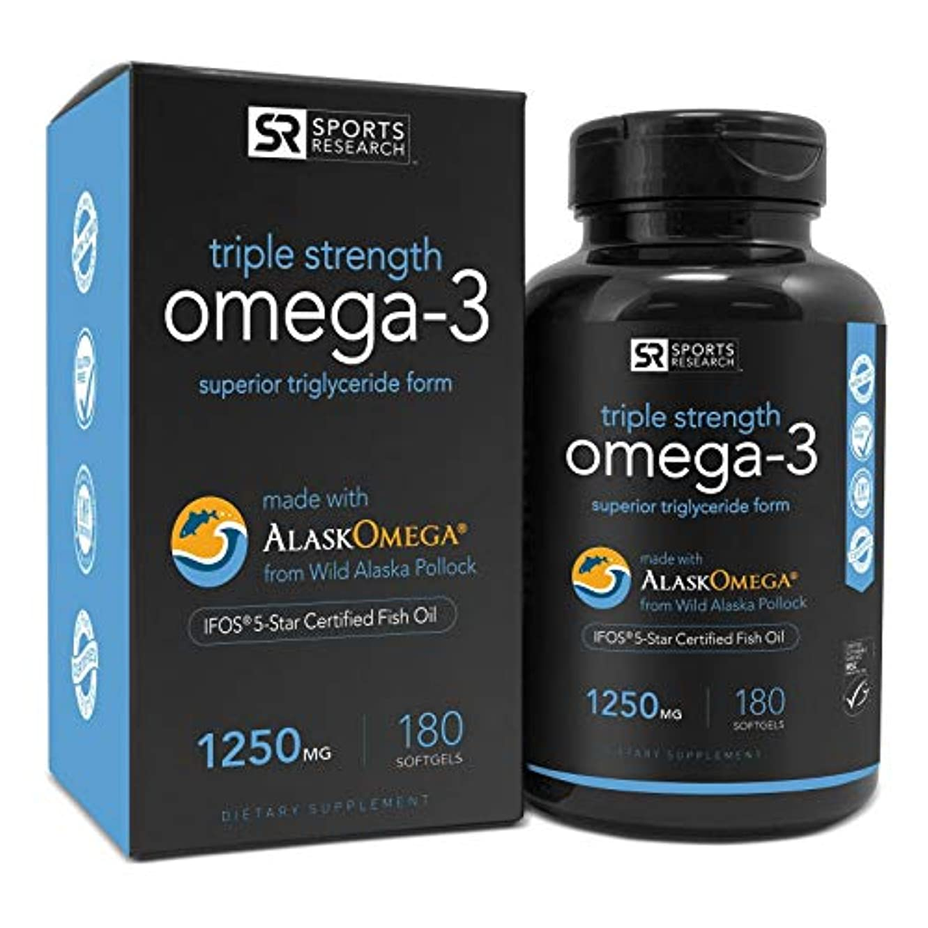 Omega-3 Fish Oil 1250mg (Triple Strength) 180 gelcaps| Contains the highest levels of triglyceride Omega-3s EPA...