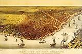 Bird 's Eye View Cityルイジアナ州ニューオーリンズの1800?and theミシシッピ川ボートLargeヴィンテージポスター