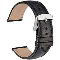 WOCCI 18mm Full Grain Leather Watch Band with Pins Buckle, Quick Release Strap (Black with Tone on Tone Seam)