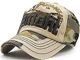 刺繍入り 迷彩帽子 ダメージ加工 ユーズド 立体ロゴ カジュアル 中古 英語 野球帽 サイズ調整可 男女兼用