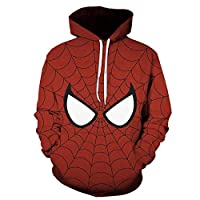 カンガルー付きスウェットシャツフード付きセーター3Dプリントスパイダーマンパーカーは長袖パーカーアウターレッドB-5XLポケット (Color : D, Size : L)