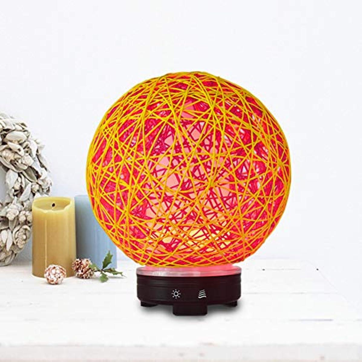 アーティキュレーション保証金不規則なラウンド 籐 クリエイティブ 加湿器,涼しい霧 7 色 空気を浄化 加湿機 時間 手動 精油 ディフューザー アロマネブライザー Yoga- 120ml