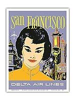 サンフランシスコ - 中華街 - デルタ航空 - ビンテージな航空会社のポスター によって作成された ジョン・ハーディー c.1960s - アートポスター - 23cm x 31cm