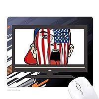 米国旗の顔の絵の化粧キャップ ノンスリップラバーマウスパッドはコンピュータゲームのオフィス