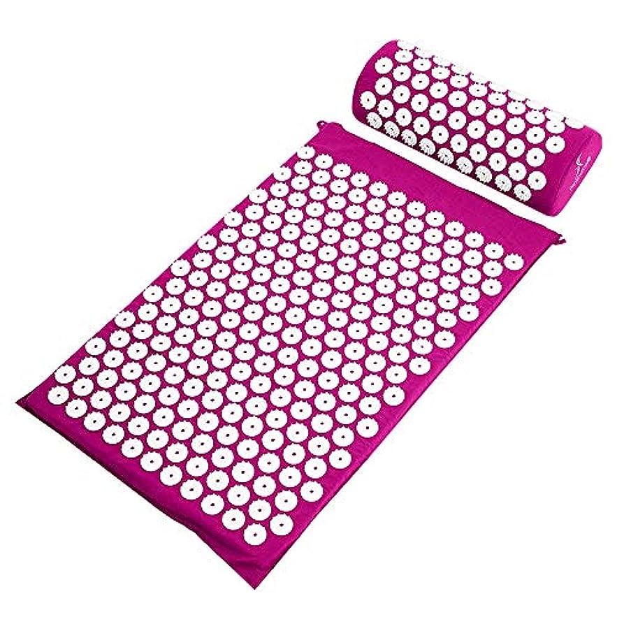 夫婦会うしゃがむ鍼マッサージパッド+マッサージ枕 - 背中/首の痛みの軽減と筋肉の弛緩のための指のパッドと枕カバーに適しています,Purple