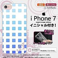 iPhone7 スマホケース ケース アイフォン7 ソフトケース イニシャル スクエア 青 nk-iphone7-tp1366ini Z