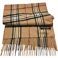 "100% Authentic Real Cashmere Super Plaid Scarf - Unisex (Men/Women) - 12"" x 72"" Long Scarf - Perfect for Birthday Gift"