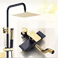 LJ バスルームシャワーセットフル銅の蛇口スクエアステンレス鋼トップスプレー