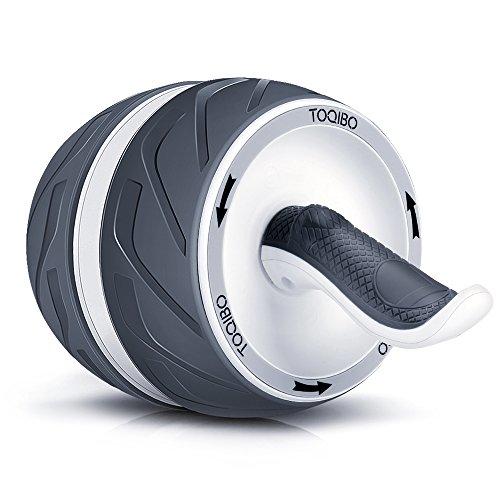 TOQIBO 腹筋ローラー リバウンド機能付き フィットネスローラー エクササイズローラー 腹筋運動マシーン最強腹筋マシーン 超静音 耐摩 滑り止めのTPR材料 マット付き 耐荷重400KG (黒)