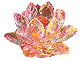 クリスタル ガラス 置物 カラフル 蓮の花 インテリア 花 ハス 風水 開運 サンキャッチャー (ピンク)