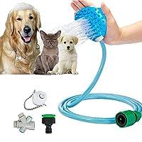 Ougesine ペット用シャワーヘッド 猫 犬 ペット用品 3つ蛇口アダプタとシャワーマッサージ機能 8 FT ブラシフレキシブルホース付き室内室外対応 短中長毛種適応