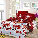 3Pcs Christmas Duvet Cover Set Queen (90x90 inches) with Pillowcases, Christmas/Xmas Pine Tree Snowman Quilt Cover, Thin Lightweight Quilt Bedding Set(Rose Red,Queen)