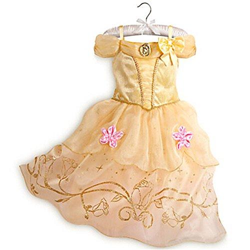 【Ani Mam Kids】子供 キッズ用 ワンピース ドレス なりきり お姫様 プリンセス(ティアラ付き) (110, ベル)