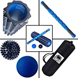 Foam Roller Set by SunHubb-Kit Includes High Density Foam Roller,Muscle Roller Stick,Lacrosse & Spiky Balls & Carrying Bag-Physical Therapy,Deep Tissue,Pain Relief,Myofascial Release,Self Massage Yoga