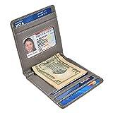 財布 メンズ 二つ折り超軽量 極薄 PUレザー 財布 マネークリップ