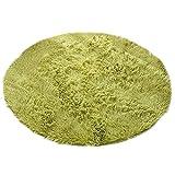 輝点 ラグ 丸いカーペット 円形マット マイクロファイバー フランネルラグ 柔らかい ラグマット 北欧シャギー 絨毯 丸洗い 軽量 折り畳み可能 滑り止め付 ホットカーペット対応 100cm (グリーン)