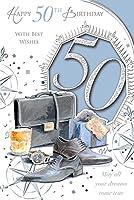 オス50Today 。Age 50th Mordenスタイル新しいギフト誕生日カード
