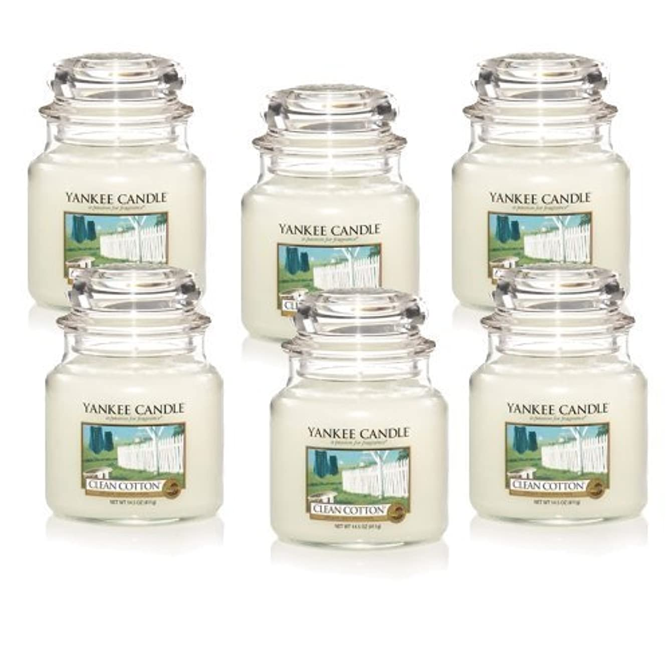 ファンタジー苦しむ証書Yankee Candle Company Clean Cotton 14.5-Ounce Jar Candle, Medium, Set of 6 by Amazon source [並行輸入品]