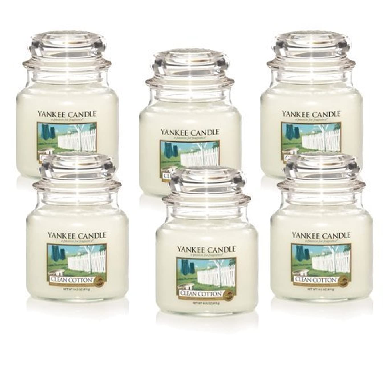 木ピルファー貸し手Yankee Candle Company Clean Cotton 14.5-Ounce Jar Candle, Medium, Set of 6 by Amazon source [並行輸入品]