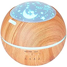 TOMNEW 150ML Essential Oil Diffuser Kids Room Ultrasonic Aromatherapy Diffuser Mini Aroma Humidifier Wood Grain Waterless Auto Shut-off 7 Color LED Lights Changing for Home Office Baby (Light Wood)