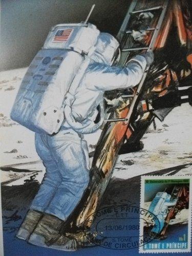 サントメ・プリンシペ ポストカード 『アポロ11号 10周年』C 初日カバー