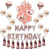 BTUTU 誕生日 飾り付け きらきら風船 バースデー デコレーション セットHAPPY BIRTHDAY シャンパンカラー紙吹雪入れ バルーン パーティー お祝い(ローズゴールド)