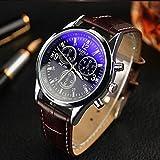 YAZOLE 2 色 メンズ クロノ グラフ タイプ 腕 時計 レザー 革 ベルト ビジネス ウォッチ スーツ 軽量 (ブラック&ブラウン)