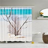 QWM-より厚いファッション シャワーカーテン、防水クリエイティブポリエステル3Dデジタル印刷パターンパーティションカーテン - ビーチシリーズ - 白いプラスチック掛け金/フック - 180(幅)* 180(高)cm (パンチングする必要はありません)